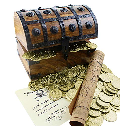 Well Pack Box Large Wooden Pirate Treasure Chest 144 Plastic Gold Coins Map Commission 8