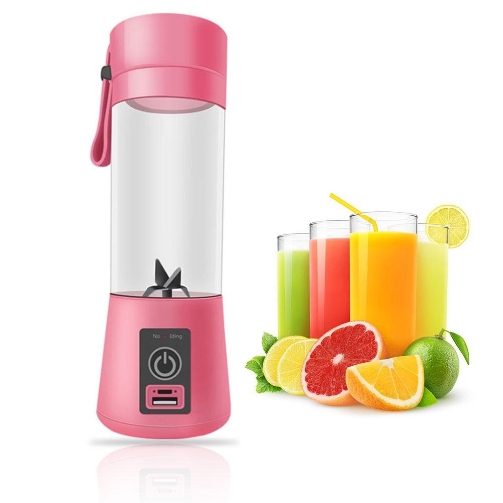 Juicer Cup, Portable Smoothie Blender USB Juicer Cup Fruit Mixing Machine with Magnetic Secure Switch and USB Charger Cable for Traveling Working Outdoors, 400ml Leegoal