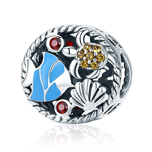 Beauty Sea World Charm 925 Sterling Silver Aquarium Crystal/Zircon Bead Fit DIY Bracelet Or Necklace ()