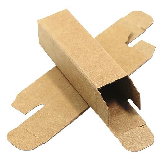 50 cajas de papel kraft para pintalabios de color marrón, pequeñas cajas de embalaje de cartón para bodas, fiestas, cumpleaños, 2 x 2 x 7,1 cm