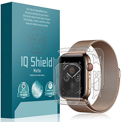 IQShield Apple Watch Series 4 Screen Protector [3-Pack], Matte Full Coverage Anti-Glare Screen Protector + Full Body Skin for Apple Watch Series 4 (44mm) Bubble-Free Film