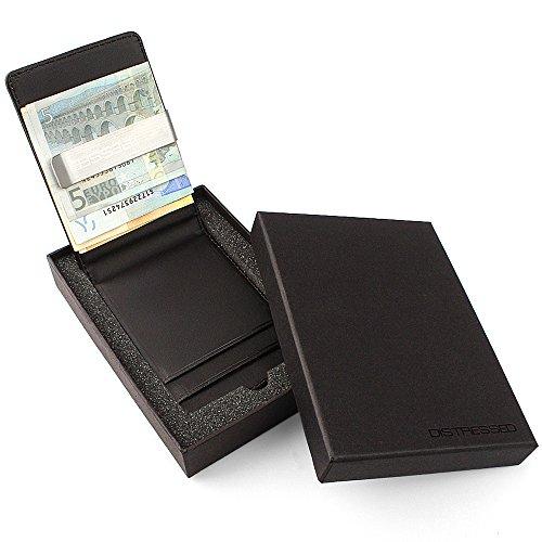 Distressed - Kreditkartenetui mit Edelstahl Geldklammer/Geldscheinklammer in Geschenkverpackung - schwarz