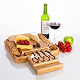 Bamboo Kitchen Cutting & Chopping Board With Drawer By ARTO - Smooth & 100% Natural Wooden Surface – Slicing, Serving & Spreading Tools Included – For Bread, Cheese, Appetizers (Large)