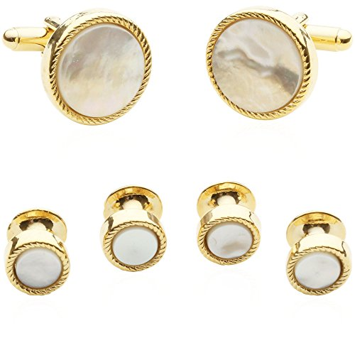 Cuff-Daddy Ribbed Mother of Pearl Gold Tuxedo Cufflinks and Studs with Presentation Box Double Happiness Gold Cufflinks