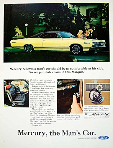 1966 Ad Vintage 1967 Ford Mercury Marquis Yellow Hardtop Car Automobile YLZ2 - Original Print - Om Ford