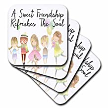 3dRose Anne Marie Baugh - Quotes - A Sweet Friendship Refreshes The Soul With Cute Happy Children - set of 4 Ceramic Tile Coasters (cst_252941_3)
