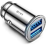 DIVI Caricabatteria Auto USB, 4.8A Caricatore Adattatore Universale Caricabatterie da Auto 2 Porte Super Mini Alluminio Macchina per Phone X / 8/7 / 6s / Plus, Galaxy S8 / S7, Huawei P9/P10 (Argento)