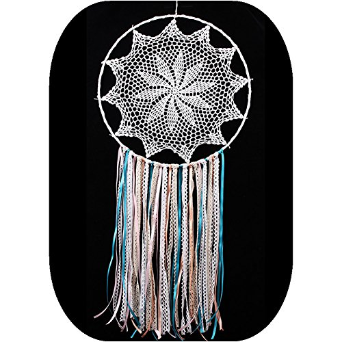 Handmade White Lace and Ribbon Dream Catcher Large Wall Hanging Decoration ~ Length 38 Inch,Diameter 16 Inch