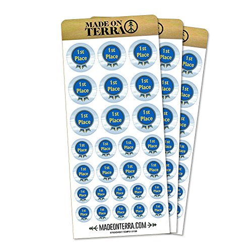 Blue Ribbon First Place Award Removable Matte Sticker Sheets (Matte Place Set)