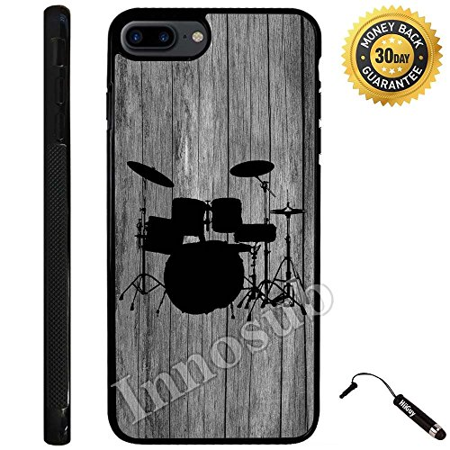 Custom iPhone 7 PLUS Case (Drums Set on Wood) Edge-to-Edge Rubber Black Cover with Shock and Scratch Protection | Lightweight, Ultra-Slim | Includes Stylus Pen by Innosub