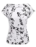 Showyoo Women's Casual Back Bow Tie Blouse Pleated Short Sleeve Tops T-Shirt White/M
