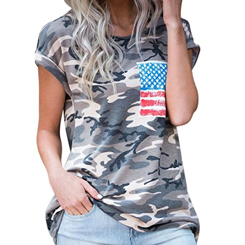 Women's Tops,Neartime Short Sleeve Camouflage T-Shirt With Fake Pocket (M, Camouflage)
