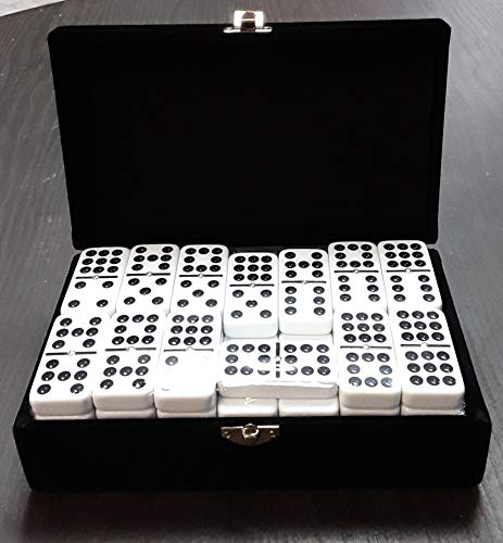 MacPag Personalize ENGRAVE Domino Game Personalized White Double Nine Dominoes Black Spots Tournament Size, Custom Domino Game]()