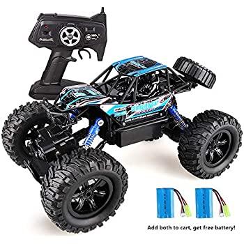 Wisleo RC Toys W838, 1/16 Scale 2.4Ghz 4WD RC Cars All Terrain High Speed Vehicle Waterproof Off Road Monster Truck, Best Gift for Kids - Blue (New Version)