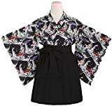 POJ Kimono Japanese Anime Costume [ L Size Red / Black For Women with Skirt ] Cosplay (L, Black)