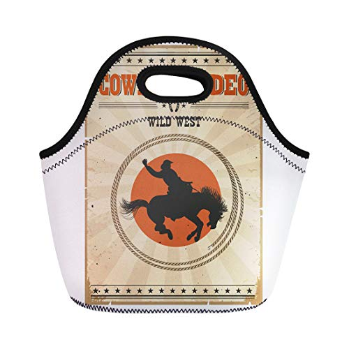 (Semtomn Lunch Tote Bag American Western Rodeo Vintage Cowboy Riding Wild Horse Reusable Neoprene Insulated Thermal Outdoor Picnic Lunchbox for Men)