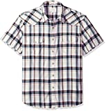 Lucky Brand Men's Casual Short Sleeve Plaid Western Button Down Shirt, Natural Plaid, L