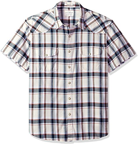Lucky Brand Men's Casual Short Sleeve Plaid Western Button Down Shirt, Natural Plaid, L by Lucky Brand (Image #1)