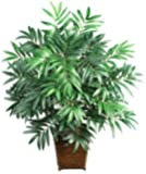 Nearly Natural 6556 Bamboo Palm with Wicker Basket Decorative Silk Plant, Green