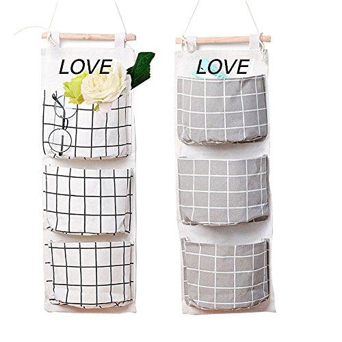 2 Packs Linen Cotton Fabric Wall Door Closet Hanging Storage Bag 3 Pockets Over the Door Organizer for Room Bathroom by HomRing
