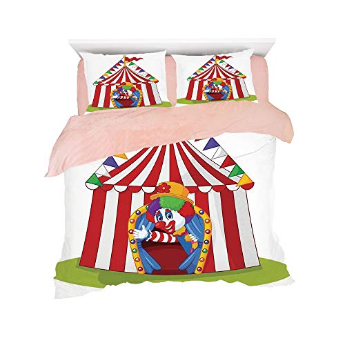 Flannel 4 pieces on the bed Duvet Cover Set 3D printed for bed width 4ft Pattern Customized bedding for girls and young children,Circus Decor,Illustration of Cartoon Clown Come out from Circus Tent Sm
