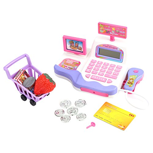 Electronic Cash Register Playset Supermarket Checkout Toy with Toy Shopping Cart Play Money and Credit Cards Children Kids Early Educational Toy ()