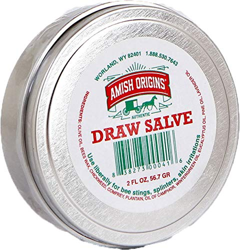 Amish Origins Draw Salve Ointment for Splinters, Sores, Bee Stings, Foreign Objects Embedded in The Skin, and Skin Irritations, 2 Ounce (1 Pack)