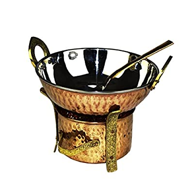 Zap Impex Indian 3 Pieces Serving Set Copper Karahi, Angithi and Serving Spoon Stainless steel set for 1 Person