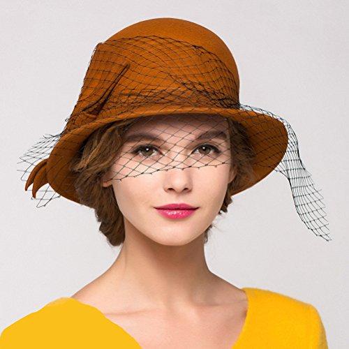 Maitose Trade; Women's Vintage Fedoras Wool Felt Veil Hat Orange by Maitose (Image #3)