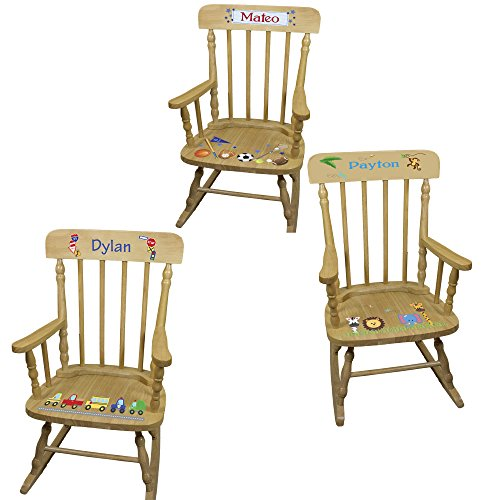 Personalized Boys Wooden Rocking Chair by MyBambino