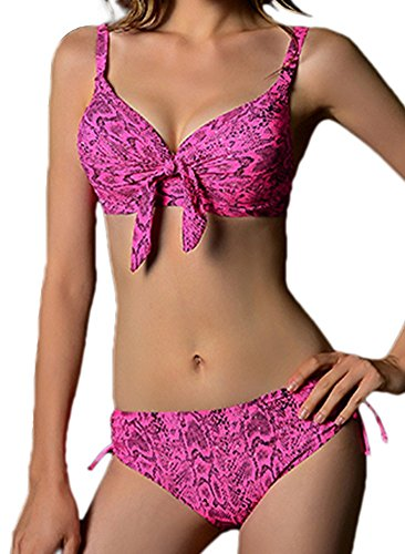 TTI Womens Sexy Push Up Bikini Set Swimsuit (X-Large, PinkRed)