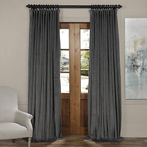 HPD HALF PRICE DRAPES VPCH-VET1222-84 Signature Doublewide Blackout Velvet Curtain,Natural Grey,100 X (Signature Four)