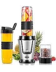 Deik Batidora multifunción, mini licuadora 5 en 1 con 3 botellas portátiles, con 4 cuchillas de acero inoxidable para batidos, hielo, fruta, verduras y compos, 500 W, 29000RMP