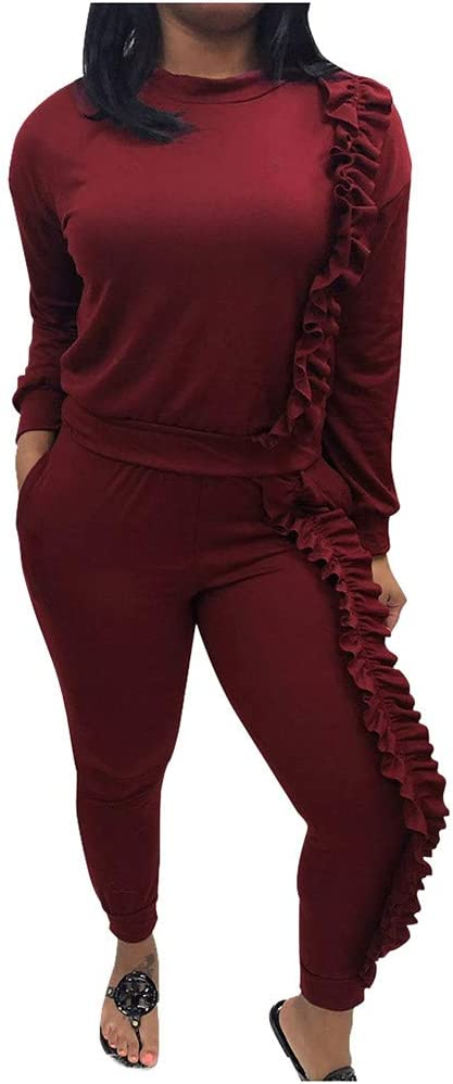 Womens Two Piece Outfits Ruffle Long Sleeve Solid Slim Tracksuit and Long Pants Sweatsuit Set Plus Size