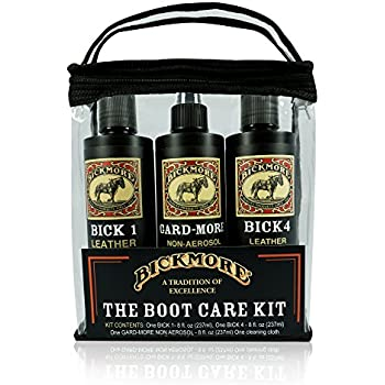 Bickmore Boot Care Kit - Bick 1 Bick 4 & Gard-More - Leather Lotion Cleaner Conditioner & Protector - For Cleaning Softening and Protecting Boots Shoes Handbags Purses Jackets and More