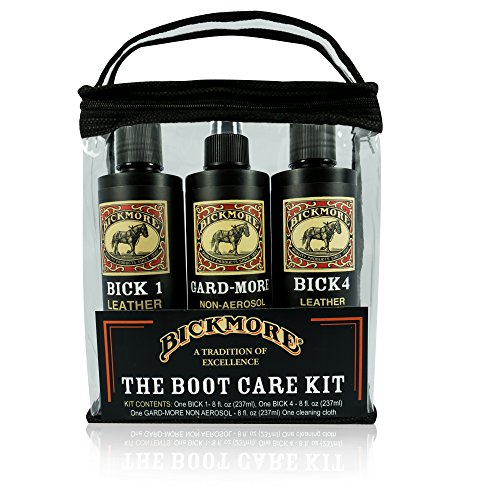 Bickmore Boot Care Kit - Bick 1 Bick 4 & Gard-More - Leather Lotion Cleaner Conditioner & Protector - For Cleaning Softening and Protecting Boots Shoes Handbags Purses Jackets and More (Leather Conditioner Boots)