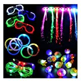 30 Pieces LED Light Up Party Favor Toy Set-LED Party Pack with LED Accessories - 12 LED Flashing Bumpy Rings,6 LED Bubble Bracelets,6 LED Glasses and 6 LED Fiber Optic Hair Extensions (Party01)