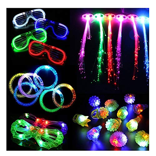 LED Light Up Party Favor Toy Set-LED Party Pack With LED Accessories - 12 LED Flashing Bumpy Rings, LED Bubble Bracelets, LED Glasses And LED Glowstick