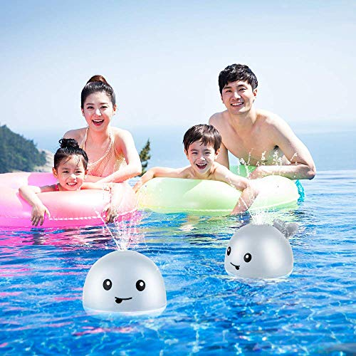 Baby Bath Toys for Toddlers Infant, Whale Water Spray Toys for Kids, LED Light Up Bathtub Shower Toys Squirt Toy Sprinkler Bath Toy, Lovely Baby Shines Pool Toy - Gray