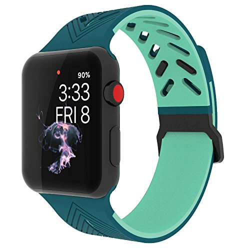 Apple Watch Band 38mm, KADES Soft Silicone Replacement Strap for 38MM Apple Watch Series 3 Series 2 Series 1 - Teal/Mint Green by KADES