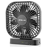 OPOLAR 5 Inch Desk Fan with Timer, USB or AA Battery Operated, 3 Speeds, Extra Quiet, 7-Blade Design, Adjustable Angle, for Office Desk, Hurricanes, Bedroom and Outdoor (Without Batteries)