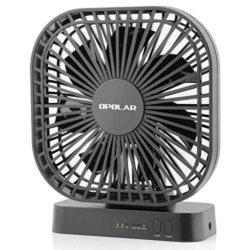 OPOLAR 5 Inch Desk Fan with Timer, USB or AA Battery Operated, 3 Speeds, Extra Quiet, 7-Blade Design, Adjustable Angle, for Office Desk, Bedroom and Outdoor (without Batteries) by OPOLAR