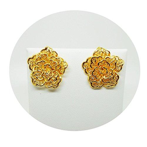 FLOWER STUD EARRINGS 22K 23K 24K THAI BAHT YELLOW GOLD PLATED ()