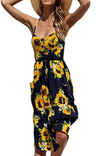 Beach Print Line Strap Pocket Womens Wear Casual Single Floral Jaycargogo Spaghetti A 1 Breasted Dresses 8tCZwxq