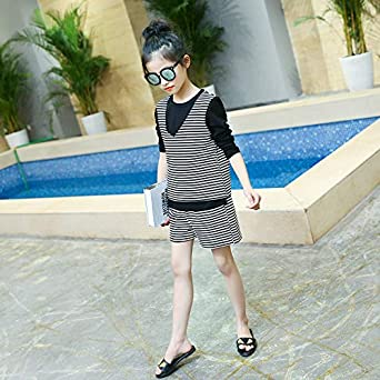 MV Autumn New Girls Children Korean Personality Casual Striped Three-Piece Suit