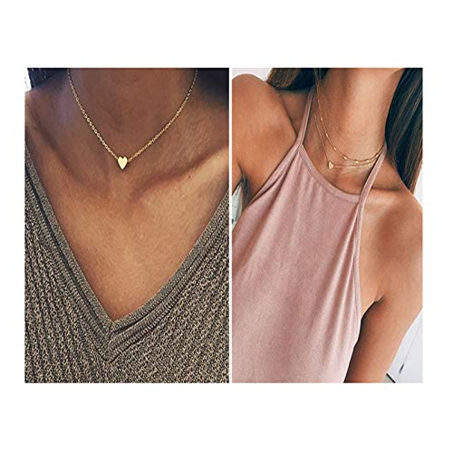 2pcs Heart Star Disc Coin Choker Pendant Necklace Set Double Layered Ethnic Bohemian Jewerly (Gold Set)