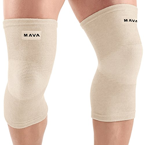 (Mava Sports Knee Support Sleeves (Pair) for Joint Pain & Arthritis Relief, Improved Circulation Compression – Effective Support for Running, Jogging,Workout, Walking & Recovery (Nude/Skin, Large).)