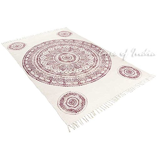 EYES OF INDIA - 4 X 6 ft Mandala White Red Burgundy Cotton Printed Area Accent Overdyed Dhurrie Rug Woven Weave