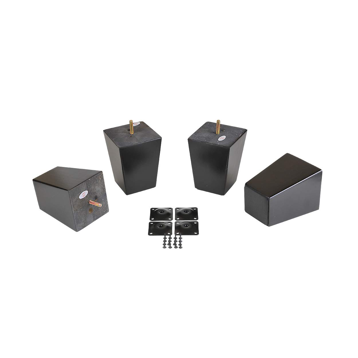 "ProFurnitureParts 5"" Inch Espresso Finish Square Tapered Wood W/ Anti Skid Pads and Leg Plates Set of 4"