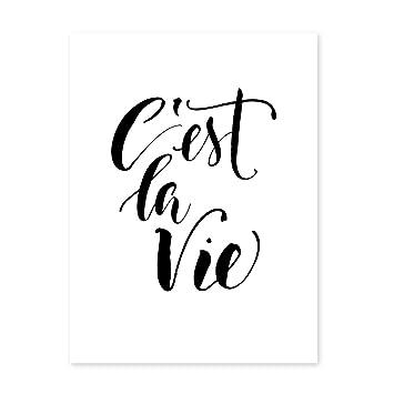 Photolini Poster Cest La Vie 30x40 Cm Schwarz Weiss Motiv Spruch Typographie Modern